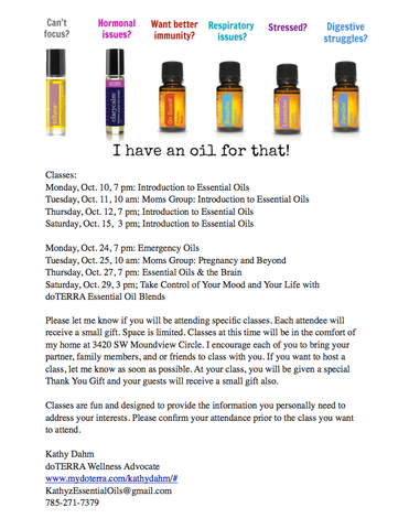 Essential Oil Classes Kathy